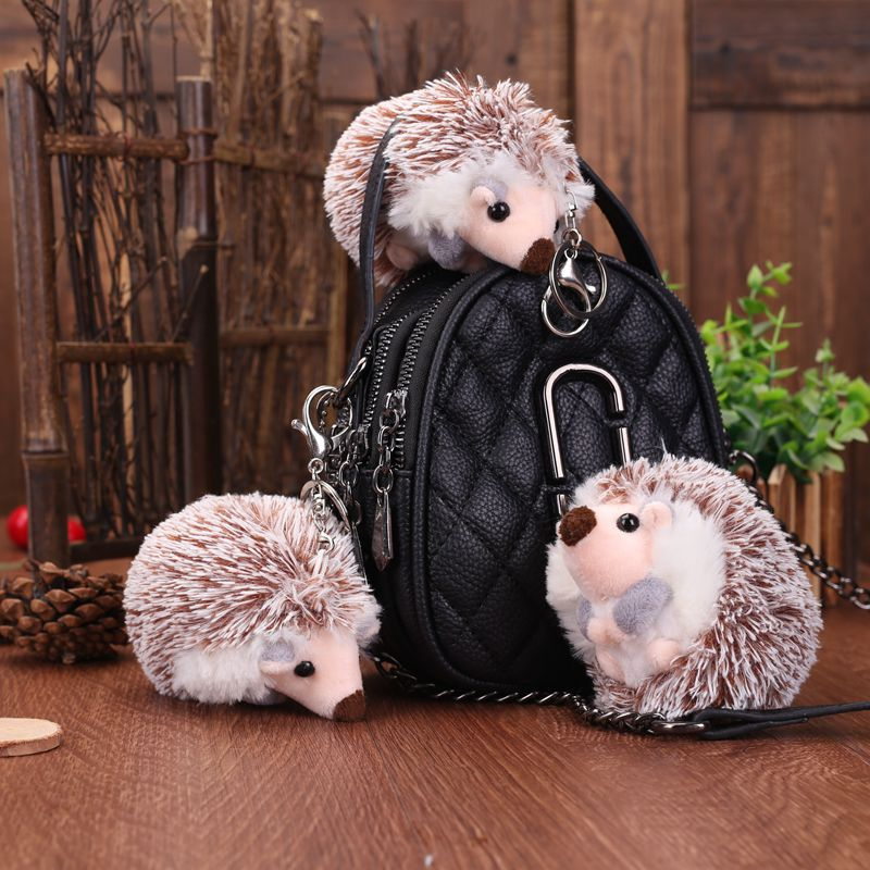 FXM 10cm Cute Hedgehog Plush Keychain Creative Anime Bag Pendant Plush Key Ring Pendant