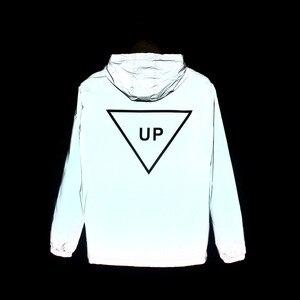 Image 5 - Mens Winter Fleece Warm Full Reflective Jackets Night Shiny Hoodies Women Hip Hop Waterproof Windbreaker Hooded Streetwear Coat
