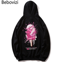 Bebovizi Hip Hop Ice Cream Printing Black Hoodies Sweatshirt Harajuku Streetwear Cotton Couple Pullover Hoodie 2019