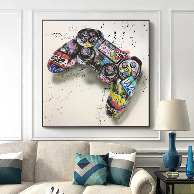 Graffiti Art Gamepad Canvas Art Posters and Print Abstract Game Handle Canvas Paintings on The Wall for Kid's Room Decor Picture 4