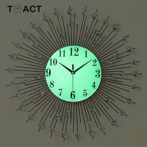 Image 4 - 60cm Luxury Diamond Wall Clock Iron Art Metal Crystal 3D Large Wall Clock Luminous Round Watch Diamond Hanging Clocks Home Decor