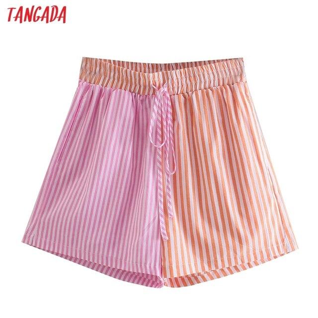 Tangada Women Vintage Pink Striped Shorts Strethy Waist Pockets Female Retro Casual Shorts Pantalones QJ157 1