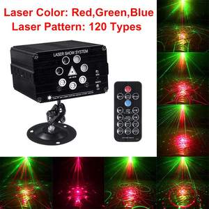 Image 2 - 120 أنماط الصوت المنشط جهاز عرض ليزر ضوء كشاف مصابيح LED للديسكو والدي جي الموسيقى 9 واط مصابيح يندمج بها اللون الأحمر والأخضر والأزرق مصباح لعيد الميلاد KTV المنزل