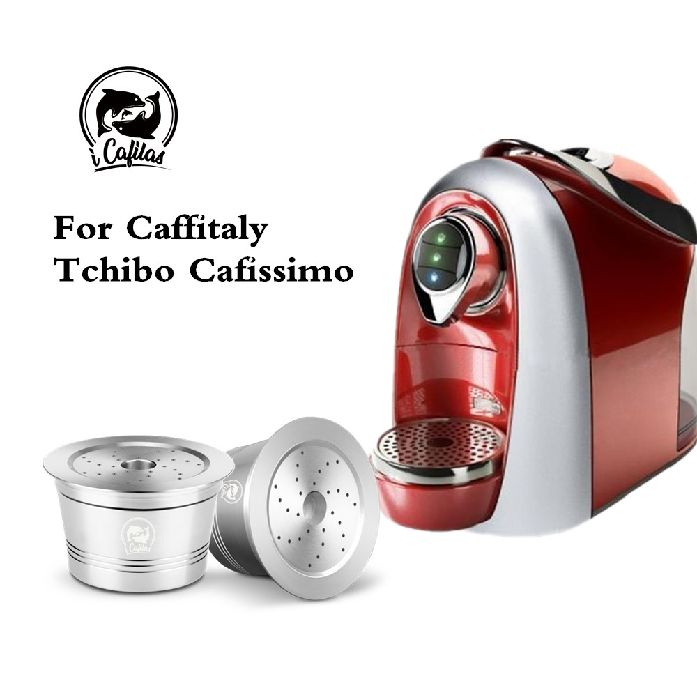 Refillable Coffee Filters For Caffitaly Tchibo Cafissimo Reusable Stainless Steel Coffee Capsule Pod Tamper Spoon