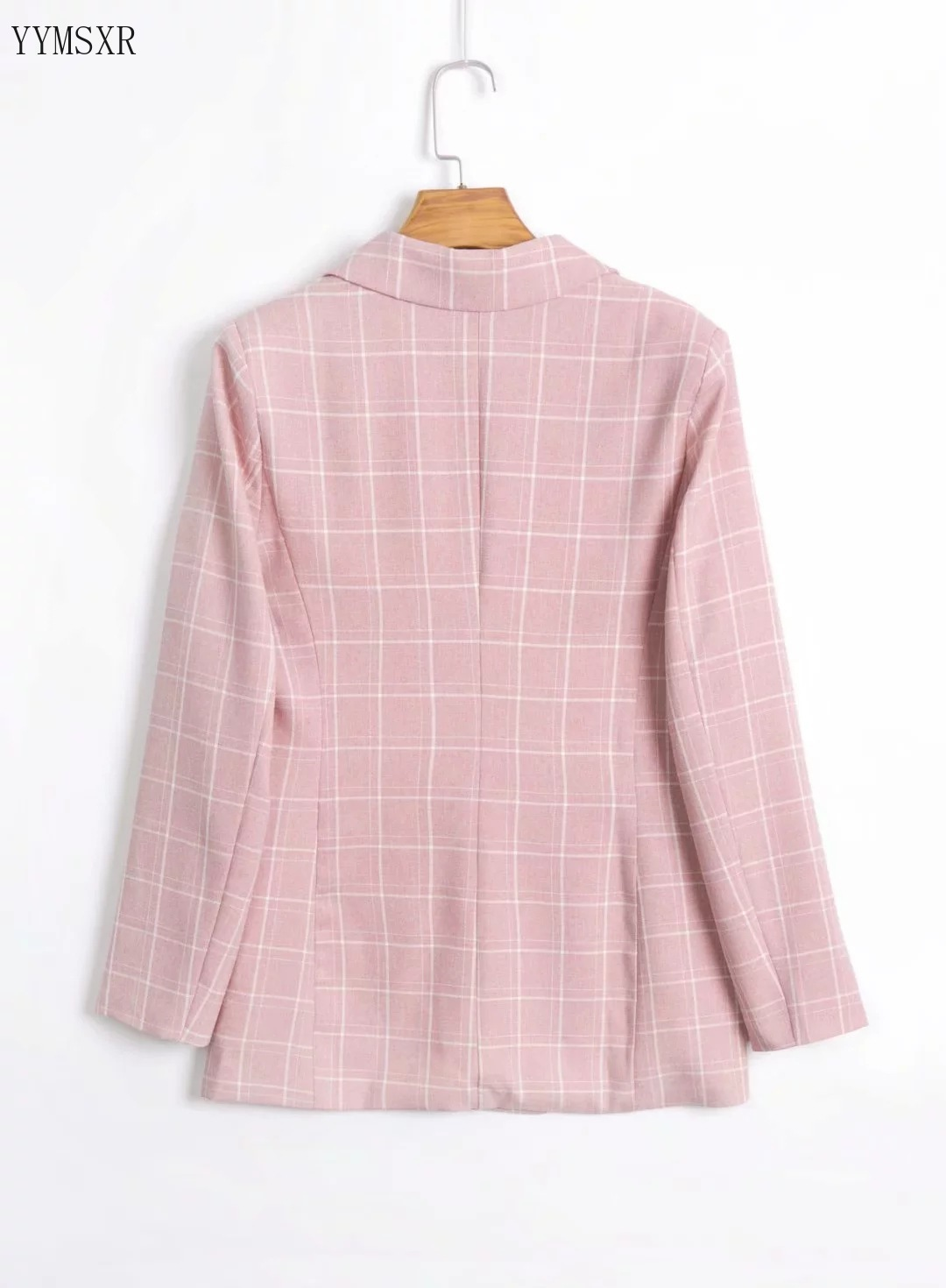 Casual Women's Pink Plaid Jacket Feminine 2020 new autumn loose mid-length women's blazer Fashion small suit double breasted