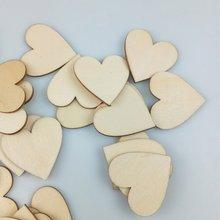 Madera Corazón en blanco rebanadas de discos de madera sin terminar recorte piezas boda Libro de Visitas sign fiesta invitados saludos manualidades Diy