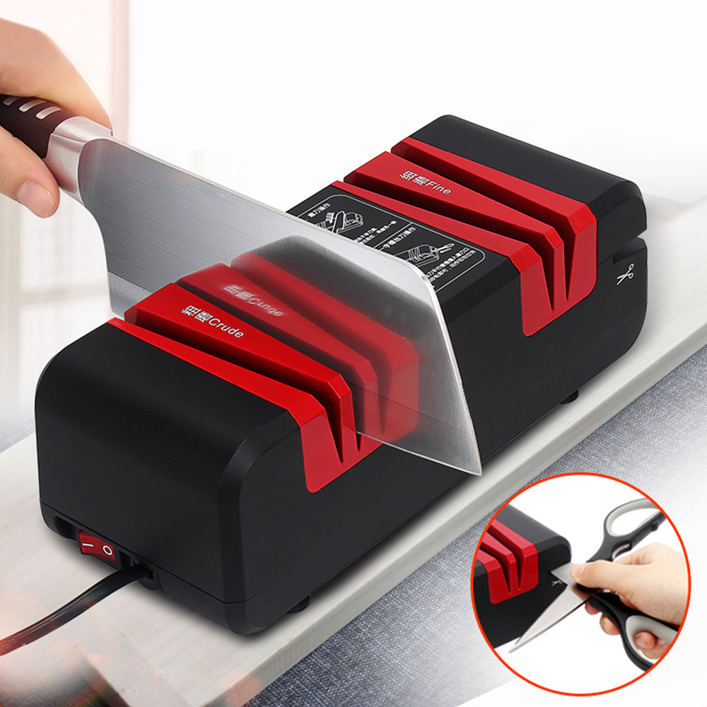 Quick Electric Knife Sharpener With Non Slip Rubber Feet For Knife And Scissors Sharpening