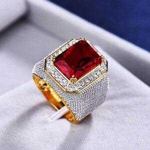 Image 2 - Bague ringen luxo 100% anel de prata esterlina com retângulo rubi pedra preciosa charme anel de prata masculino jóias festa presente atacado