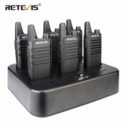 6 pcs Retevis RT22 Twee Manier Radio Walkie Talkie + Zes-Way Charger 2 W VOX Draagbare Walkie Talkies voor Hotel/Restaurant/Supermarkt