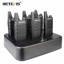 6pcs Retevis RT622/RT22 Two Way Radio Mini Walkie Talkie + Six-Way Charger PMR VOX Portable For Hotel/Restaurant
