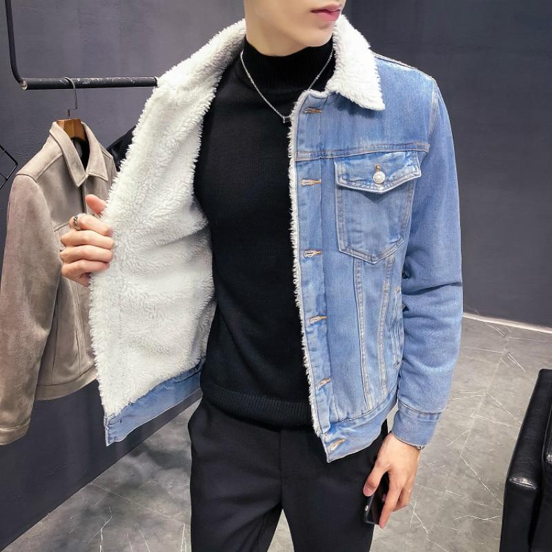 2020 New Winter's Men's Fashion Fleece Thick Pure Color Casual Denim Jacket Male Cotton Slim Vintage Jackets Men Coats
