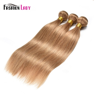 Image 2 - Fashion Lady Pre Colored Brazilian Hair Weave Bundles Blonde Human Hair Weave 27# Straight Hair Bundles Non remy