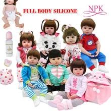 Oyuncak tam vücut silikon su geçirmez banyo oyuncak popüler reborn yürümeye başlayan bebek bebekler bebe bebek reborn gerçekçi hediye inci ile şişe