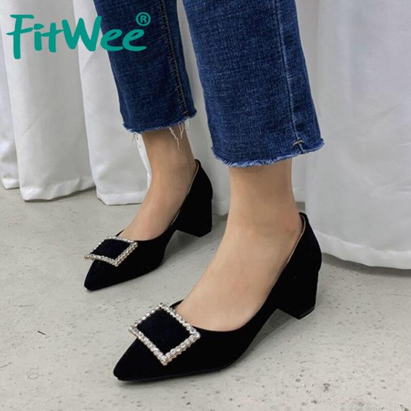 Подходящие весенние туфли на высоком квадратном каблуке; туфли из флока с острым носком; женская модная офисная обувь с кристаллами; размеры 31-43
