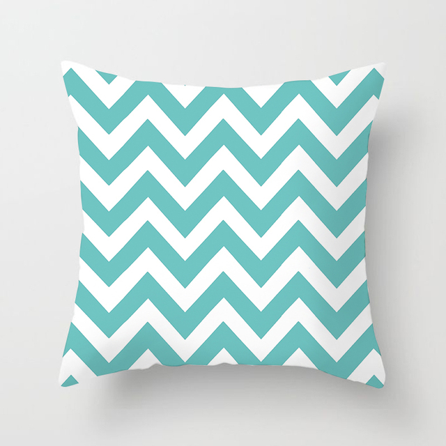 Fuwatacchi European Geometric Cushion Covers Blue Wavy Arrow Pillow Cases Cotton For Bedroom Sofa Decorative Pillow Covers 45*45