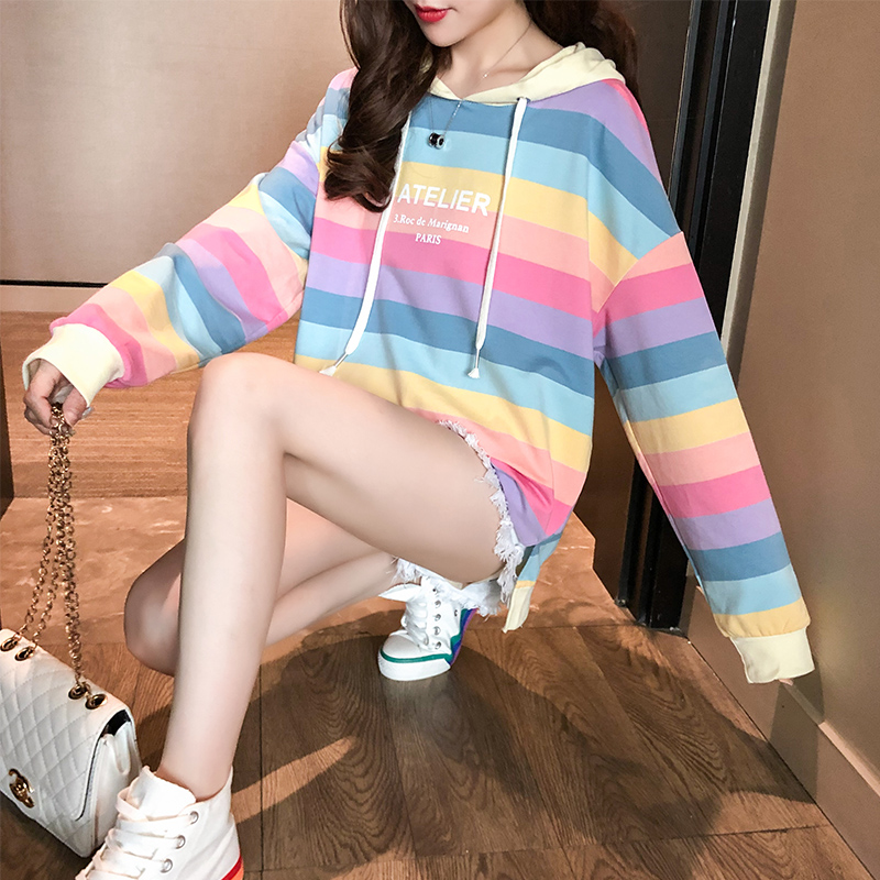 Autumn And Winter Rainbow Stripes Letter Harajuku Pullover Thick Loose Hooded Sweatshirt Female Casual Jacket Album Jersey Hoody