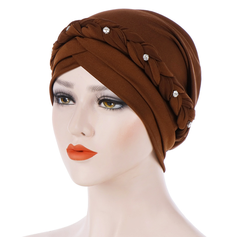 Braid Islamic Milk Silk Polyester Prayer Hats Wraps Hijab Caps Women Muslim Cap Islamic Hijab Turban