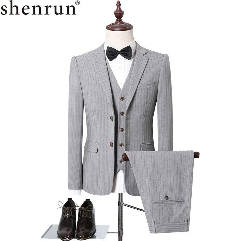 Shenrun Men's Stripe Suits Fashion Business Formal Casual 3 Pieces Suit Gray Black Office Jacket Vest Pants Wedding Party Prom
