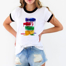 A stack of nail polish print vogue t shirt women