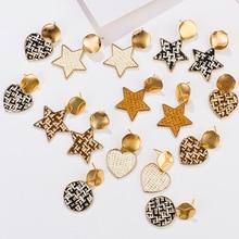 AENSOA Vintage Alloy Irregular Geometric Straw Rattan Drop Earrings Round/Square/love/Water drops Type Fashion Jewelry