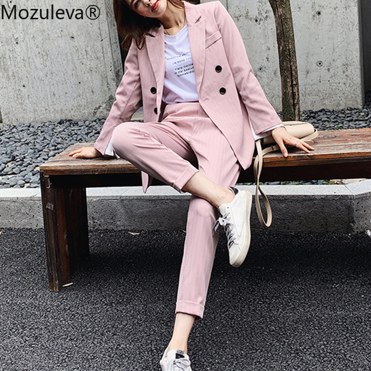 Mozuleva Spring Woman Sets 2 Piece Striped Matching Pants Casual Double Breasted Office Elastic Waist Suits 2020 New Femme