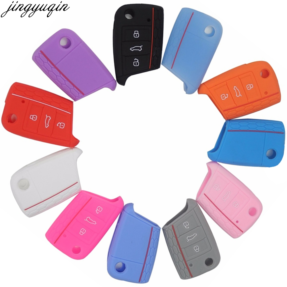 Case Polo Kodiaq Ateca VW Golf Skoda Octavia Silicone Volkswagen Car-Key-Cover 3-Buttons title=