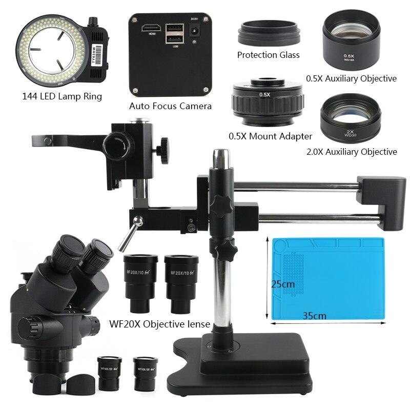 3.5X-90X support de Double flèche de Microscope stéréo trinoculaire Focal Simul + SONY IMX290 HDMI 1080P caméra vidéo à mise au point automatique industrielle