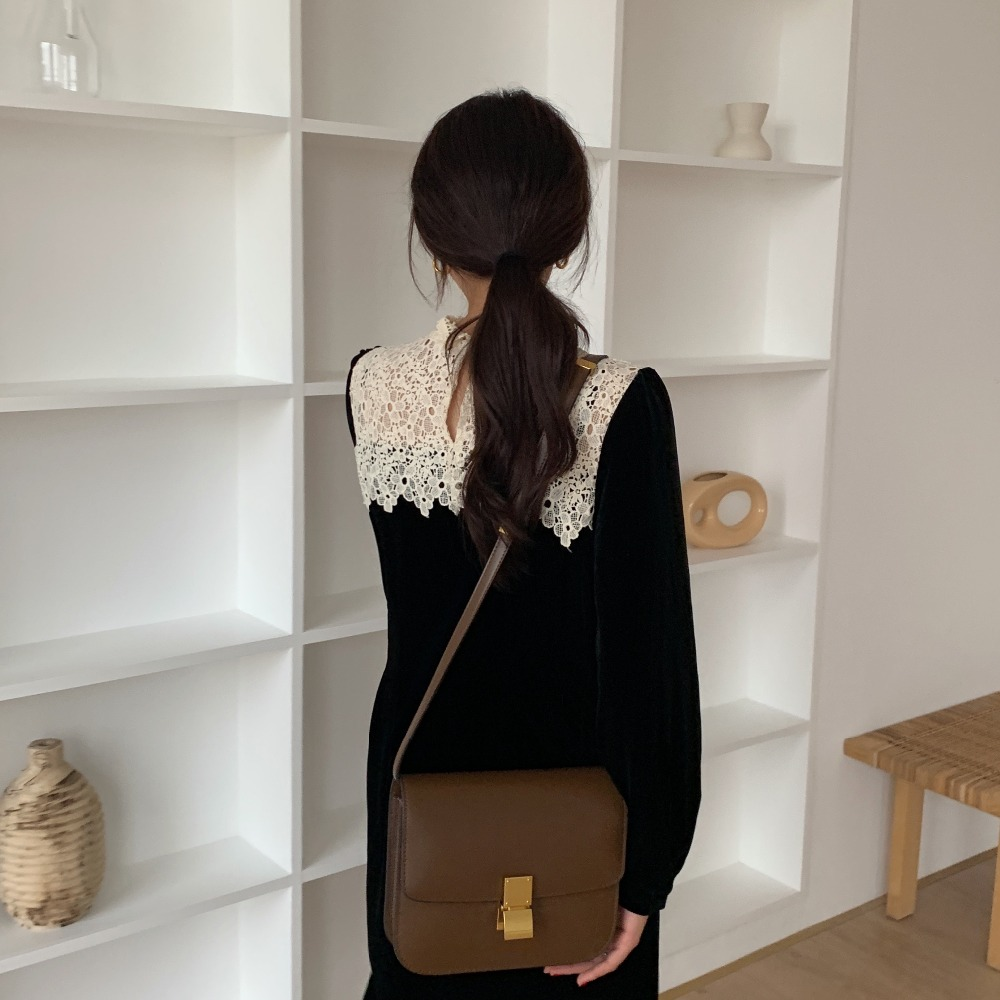 H699a6450a649463f8b474e7f2917bd17z - Autumn / Winter Korean O-Neck Long Sleeves Lace Patchwork Midi Dress