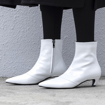 Women's genuine leatheir kitten heel pointed toe elegant ladies autumn short ankle boots high quality shor