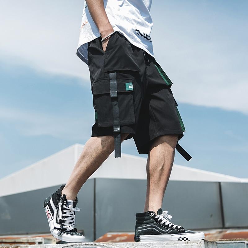 Streetwear Summer Shorts Men Casual Side-pocket Mens Beach Shorts 2020 New Knee-length Ribbons Bermuda Short Pants Men