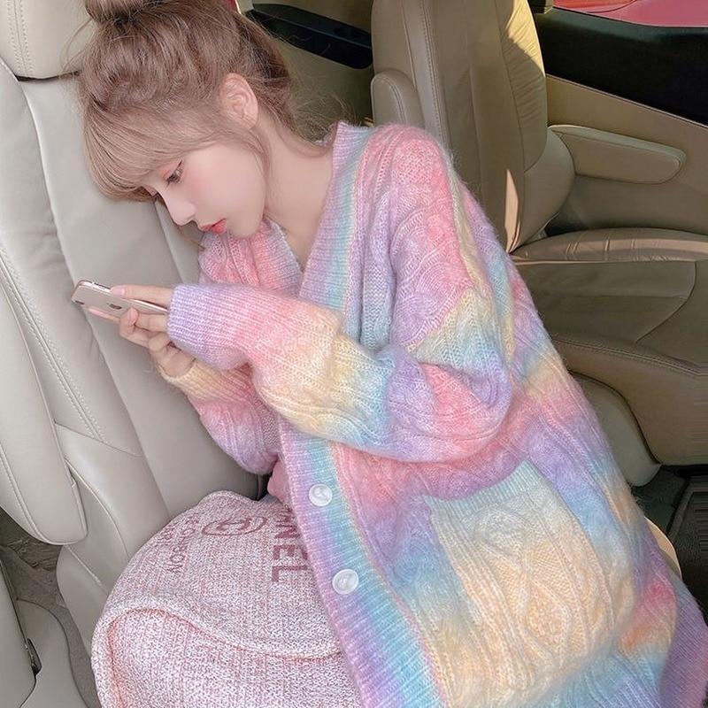 Rainbow Knitted Cardigan Women Autumn winter Sweet Kawaii Sweater Coat Female Long Korean Button Down Cardigan Fall 2020 Women 5