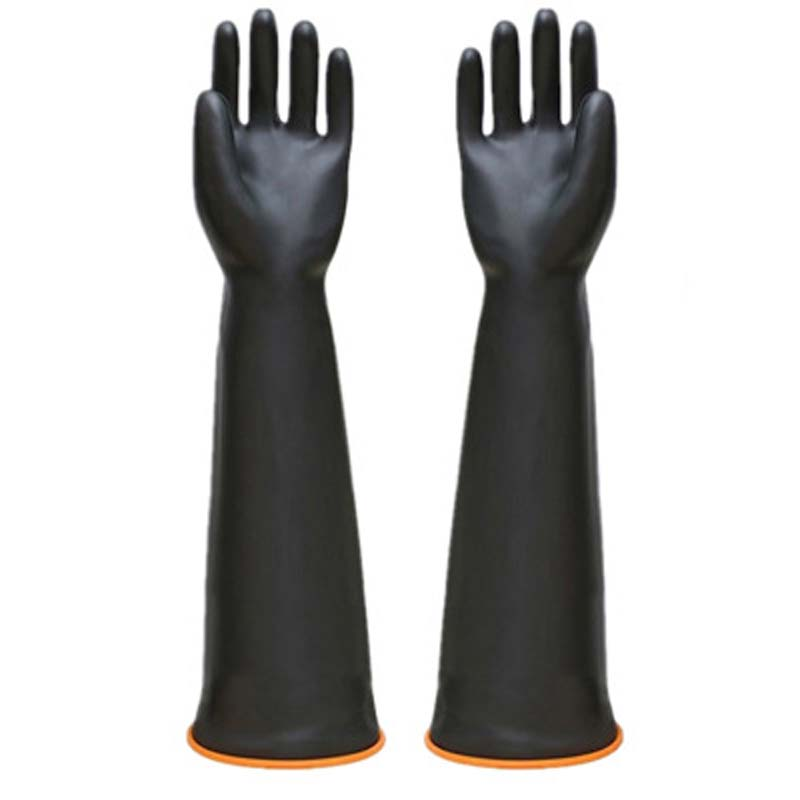 Black Thick Industrial Acid And Alkali Resistant Gloves, Waterproof Labor Protection Latex Gloves