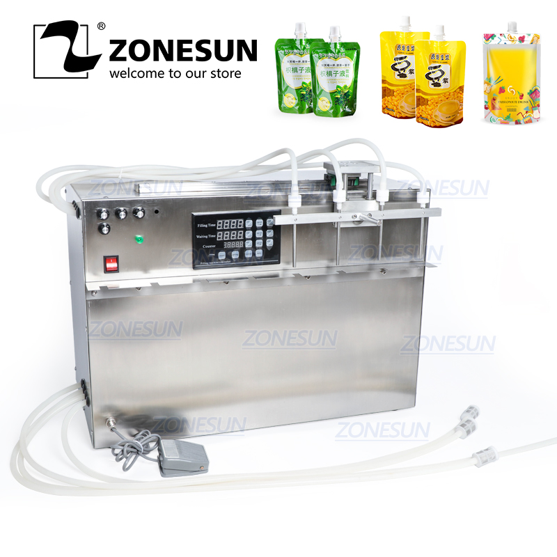 ZONESUN 4 Heads Self-priming Beverage Bag Liquid Filling Machine Digital Control Compact Precise Numerical Filling Machine
