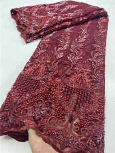 Nigerian Lace Fabrics African Beaded Sewing French High-Quality for YA3617B-8 Handmand