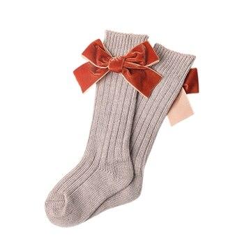 הברך גבוהה גרביים לפעוטות ילדים בייבי בנות מוצק Bowknot כותנה נסיכת שמלת בלט ארוך גרב רגל חם