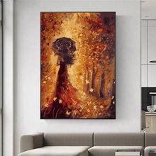 Абстрактный кленовый лист девочка масляная живопись на холсте