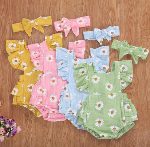 2020 New 2Pcs Toddler Ruffles Floral Romper One Piece <font><b>Bodysuit</b></font> Outfits Children Clothes image