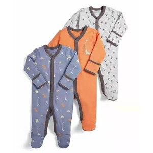 Image 1 - Pelele de 3 uds para bebé recién nacido, mono de 0 a 12m, Pelele de algodón de dibujos animados, conjunto de pijamas, ropa para bebé recién nacido, pelele para niña