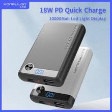 Power bank10000mah 18w pd powerbank qc 3.0 carga rápida display led portátil micro redmi carregador de banco de potência para iphone12 huawei