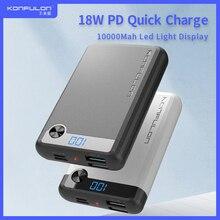 Puissance Bank10000mAH 18W PD Powerbank QC 3.0 Charge rapide affichage Led Portable Micro redmi chargeur de batterie dalimentation pour iPhone12 Huawei