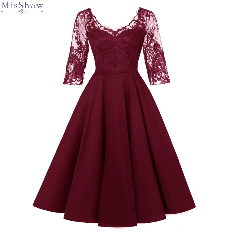 Robe Cocktail	Dresses 2019 Sexy Lace Party Vestidos A Line Short Formal Dress V Neck Half Sleeve Coctail Dress