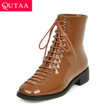QUTAA 2020 New Autumn Winter Round Toe Lace Up Ankle Boots PU Patent Leather Fashion Square Low Heel Women Shoes Size 34-43(China)