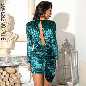 Image 5 - LOVE&LEMONADE Sexy Green Deep V neck Pleated Ribbon Open Back Back Velvet Material Slim Party Mini Dress LM81976