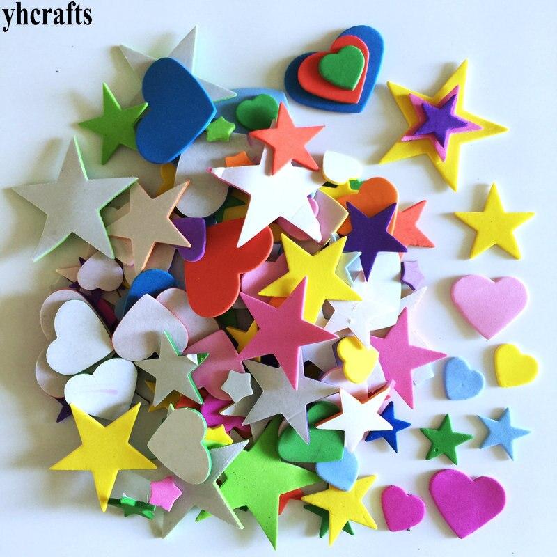 1 упаковка/Партия. Набор для скрапбукинга с изображением животных на ферме. Ранние развивающие игрушки для детского сада художественные поделки игрушки ручной работы howework DIY - Цвет: 100PCS heart star