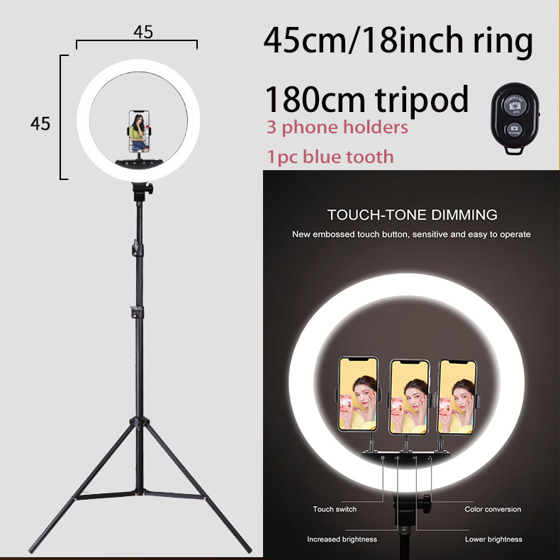 16cm26cm 30cm 45cm Selfie Ring Light with Phone Camera Holder Photography Lighting with Tripod Remote Control for Photo Video 3