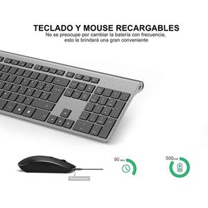 Image 5 - Wireless keyboard and mouse, Spanish layout, rechargeable battery, stable USB connection, suitable for notebook, computer, gray