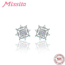 MISSITA 100% 925 Sterling Silver Snowflake Earrings For Women Romantic Jewelry Anniversary Christmas Gift