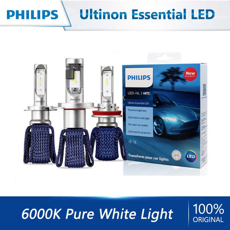 Philips H4 H7 H8 H11 H16 9005 9006 9012 HB3 HB4 H1R2 LED Ultinon temel LED araba 6000K beyaz far otomatik orijinal lambalar 2X
