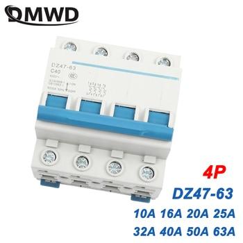 DZ47-63 4P 10a 16a 63A 230V 400V ~ 50HZ/60HZ Disyuntor de corriente Residual