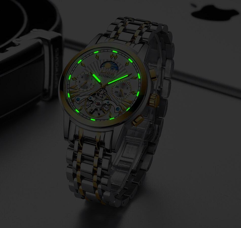 H699beec152c44e879752a39a26c2d468R LIGE Official Store Mens Watches Top Brand Luxury Automatic Mechanical Business Clock Gold Watch Men Reloj Mecanico de Hombres